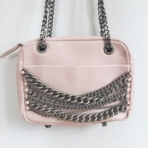 Zara Pink Silver Chains Faux Leather Shoulder Bag